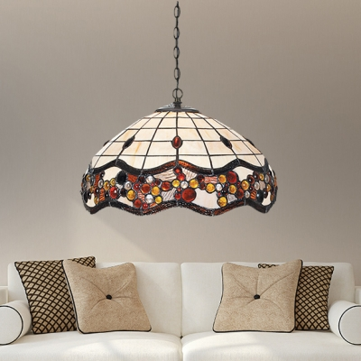 Beige Domed Pendant Light with Beads 1 Light Traditional Stained Glass Hanging Lamp for Restaurant