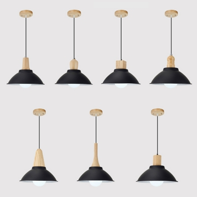 Black Bowl Shade Pendant Light 1 Light Vintage Style Aluminum Hanging Light for Kitchen