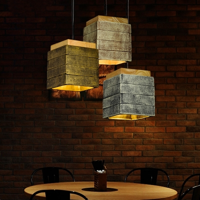 Cement Square Shade Hanging Light Cafe 1 Light Antique Suspension Light in Brass/Brown/Gray