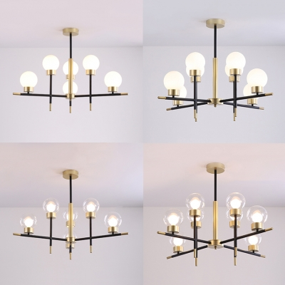 Clear/Cream Glass Globe Chandelier Dining Room 6/8 Heads Simple Style