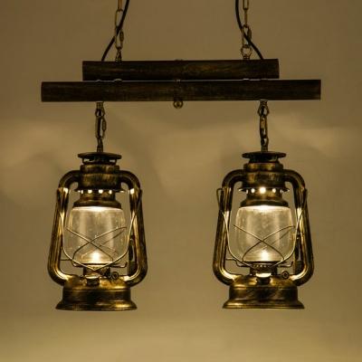 Cloth Shop Kerosene Island Lamp Metal 2 Lights Industrial Island Light in Aged Brass/Antique Copper