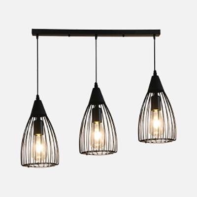 Cone Wire Frame Suspension Light Metal 3 Lights Retro Loft Hanging Light in Black Finish