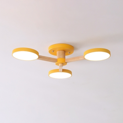 Contemporary Big O Ceiling Light 3 Lights Wood Macaron Colored Semi Flush Mount Light in White/Warm for Study