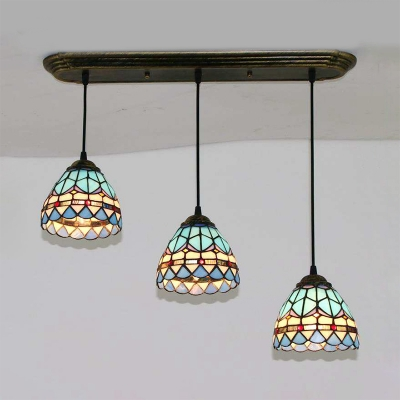 Cone/Dome Pendant Light Stained Glass 3 Heads Tiffany Vintage Island Light in Heritage Brass