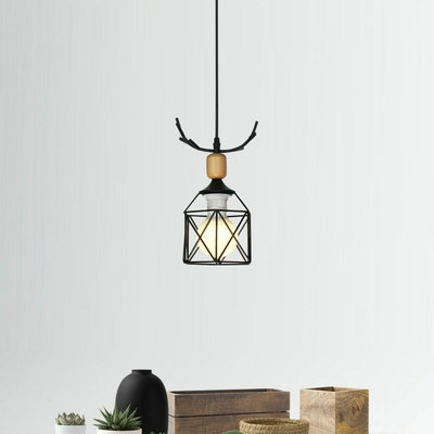 Creative Black Ceiling Light Square Cage 1 Light Metal Suspension Light with Antlers for Restaurant