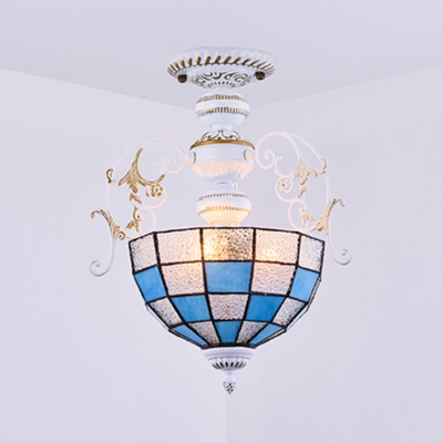 Dome Shade Bedroom Semi Flush Light Glass 2 Lights Mediterranean Style Ceiling Light