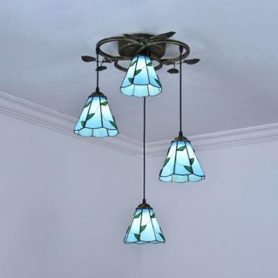 Down Lighting Restaurant Hanging Light Glass 4 Lights Tiffany Antique Ceiling Light in Beige/Blue/White