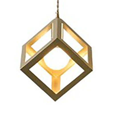 Restaurant Kitchen Cage Pendant Light Metal Single Light Simple Style Hanging Lamp in Gold