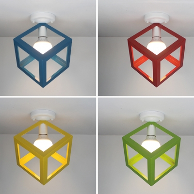 Macaron Cube Shade Flush Ceiling Light Metal 1 Light Blue/Green/Red/Yellow Ceiling Fixture for Balcony