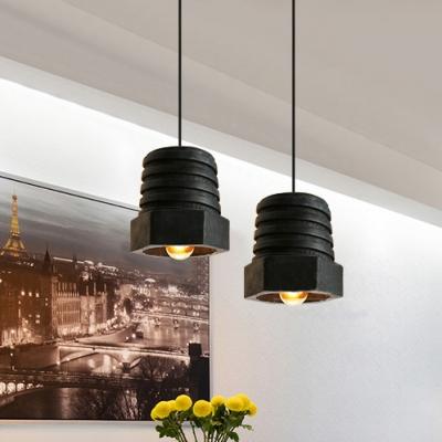 Industrial Nut Shape Pendant Light Resin One Light Black Hanging Light for Restaurant Hallway