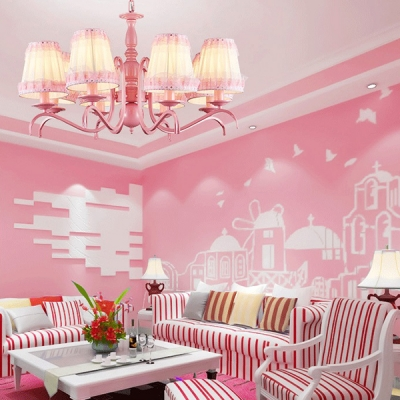 Kid Bedroom Tapered Shade Chandelier with Lace Decoration Metal 3/5/6 Lights Pink Pendant Light