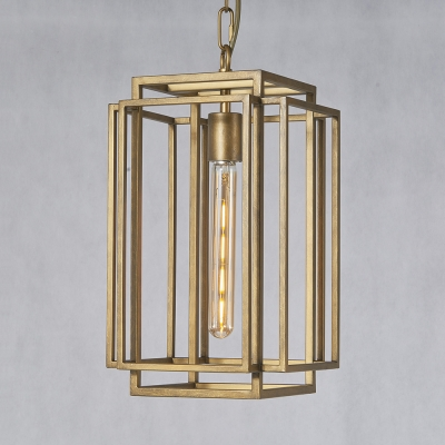 buy popular 73c99 7dae5 Kitchen Stair Rectangle Cage Pendant Light Metal 1 Light Industrial