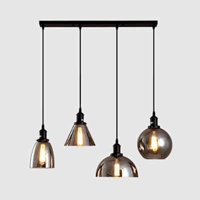 Linear Canopy Pendant Lamp Dining Room 3/4 Lights Smoke Gray Glass Antique Suspension Light in Black