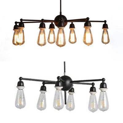 Living Room Open Bulb Chandelier Light Metal 6/9 Lights Black Finish Pendant Light