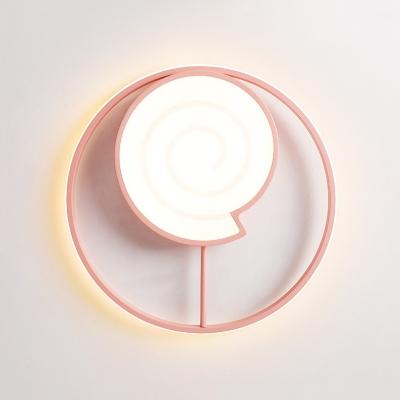 Lovely Lollipop LED Flush Mount Light Acrylic Ceiling Lamp in Black/Pink for Boy Girl Bedroom