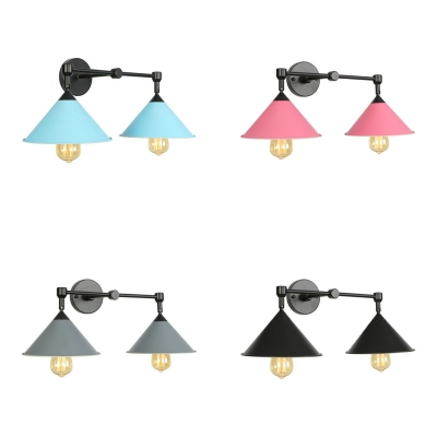 Macaron Loft Cone Wall Sconce 2 Lights Metal Sconce Light in Candy Color for Bedroom Bathroom, Black;blue;pink;gray;purple, HL534769
