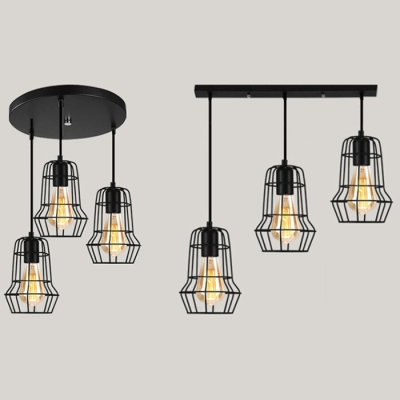 Metal Cage Suspension Light 3 Lights Antique Linear/Round Canopy Ceiling Lamp in Black for Bar HL530563 фото