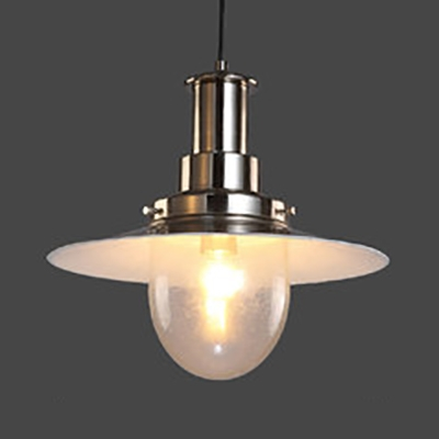 Metal Saucer Shade Hanging Light One Light Industrial Pendant Light in Copper/Nickle for Cafe