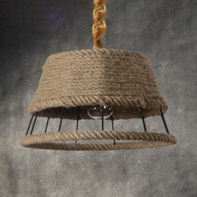 Rope Hollow Drum Shade Hanging Light One Light Rustic Style Pendant Light in Beige for Bar