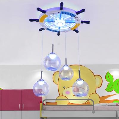 Rudder Pendant Light Mediterranean Style Wood Open Clear Glass Suspension Light for Kid Bedroom