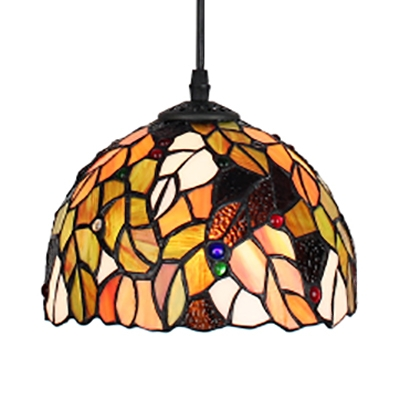 Rustic Style Multi-Color Hanging Lamp Dome Shade 1 Light Glass Pendant Light for Dining Room
