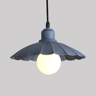 Scalloped Edge Restaurant Pendant Light Metal 1 Light Macaron Loft Hanging Light