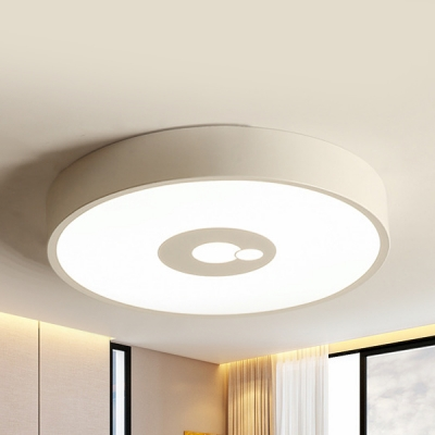 Simple Style Concentric Circle Ceiling Mount Light Metal Black/White LED Flush Light in Warm/White for Foyer