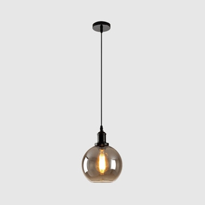Smokey Gray Glass Spherical Hanging Light 1 Light Antique Stylish Pendant Light for Dining Room