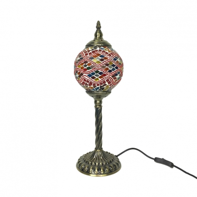 Stained Glass Torch Table Lamp One Light Art Deco Table Light with Plug-In Cord for Study Room