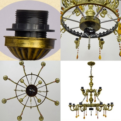 Tiffany Style Victorian Chandelier Dome Shade 15 Lights Stained Glass Hanging Light for Villa