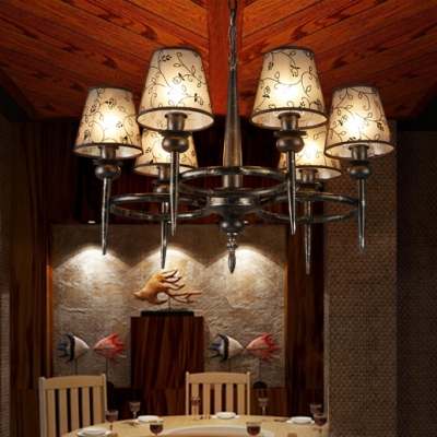 Traditional Black Pendant Lamp Tapered Shade 6 Lights Fabric Metal Chandelier for Dining Room