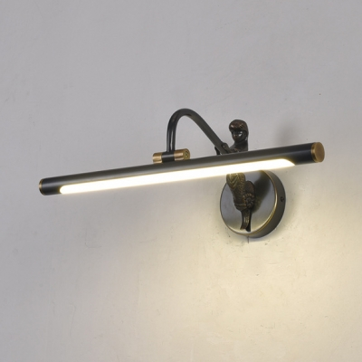Vintage Linear Wall Light with Mermaid 14/18/23 Inch Acrylic LED Vanity Lighting in Black for Bathroom