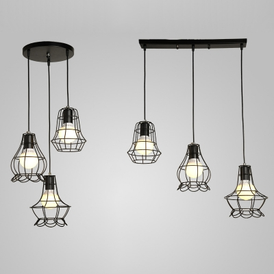 Wire Frame Hanging Lamp 3 Lights Antique Style Linear/Round Canopy Ceiling Light in Black for Bar, HL530461