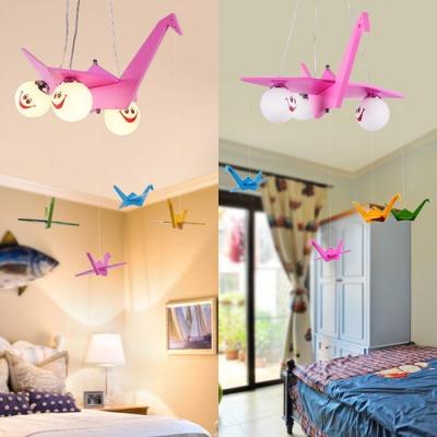 Wood Senbazuru Suspension Light with Orb Shade Girls Bedroom Lovely Chandelier in Pink