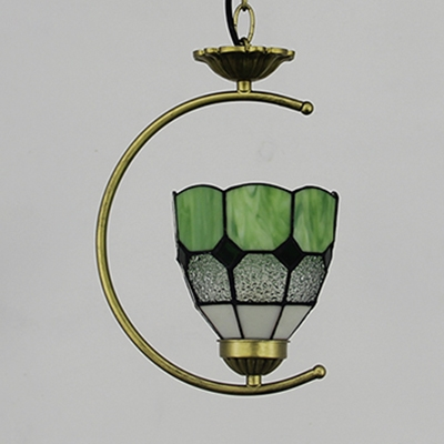 1 Head Grid Dome Pendant Lamp Tiffany Style Vintage Glass Hanging