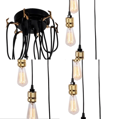 6 Lights Cascade Ceiling Pendant Industrial Edison Bulb Suspension Light in Black for Restaurant