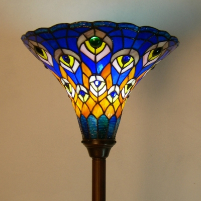 Tiffany Rustic Blue Floor Light Peacock Stained Glass Standing Light for Living Room Bar
