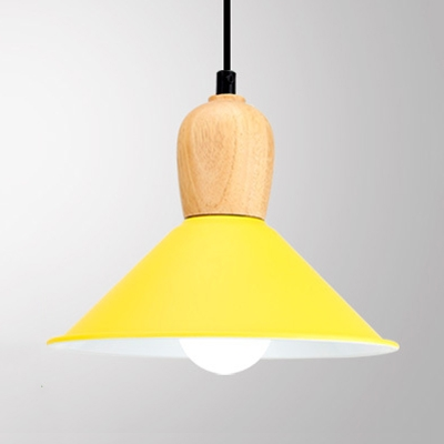 Aluminum Conical Shade Pendant Light Restaurant Kitchen 1 Head Macaron Hanging Light in Blue/Green/Red/Yellow