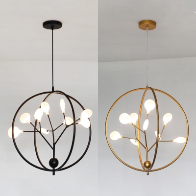 Creative Black/Gold Chandelier with Plant Shape 9 Lights Metal Pendant Light for Kitchen