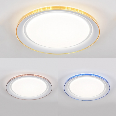 Contemporary Circle Flush Mount Light Acrylic LED Ceiling Light in Blue/Brown/Gold with White Lighting for Bedroom