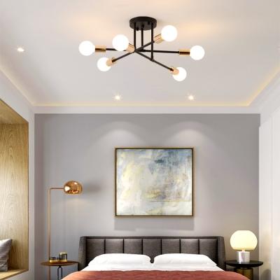 Open Bulb Living Room Ceiling Light Metal 6/8 Bulbs Modern Style Semi Flush Ceiling Light in Black/White
