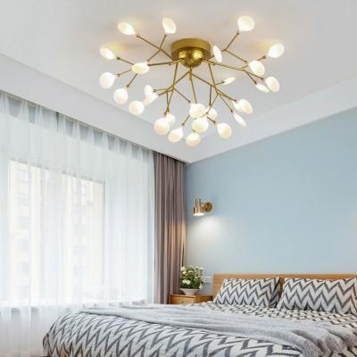 Elegant Gold LED Ceiling Light Twig 15/27/36/45 Lights Metal Semi Flush Mount Light for Cafe Hotel