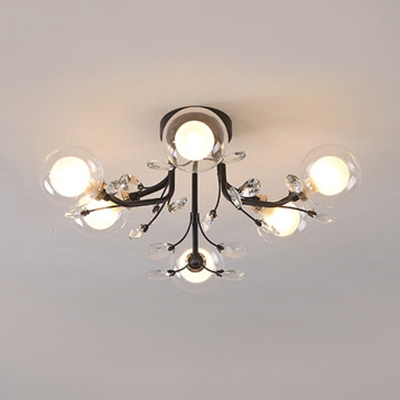 Glass Orb Shade Ceiling Lamp Living Room 6/15/20 Lights Contemporary Semi Flush Mount Light in Black