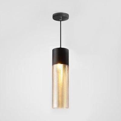Black Finish Ceiling Pendant 1 Light Modern Ridged Glass Suspension Light for Shop Bar Cafe
