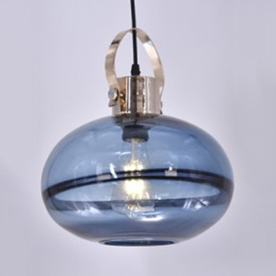 One Bulb Pendant Light with Shade Traditional Amber/Blue/Smoke Glass Hanging Light for Cafe