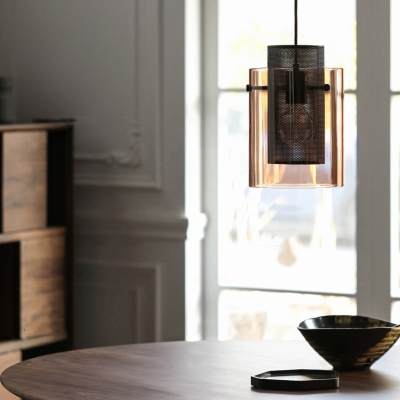 Cylinder Study Room Pendant Light with Mesh Screen 1 Light Traditional Hanging Light in Amber