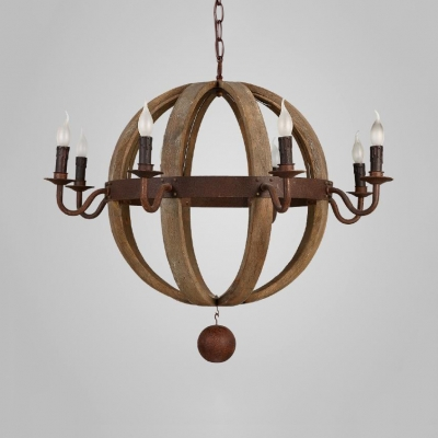 American Rustic Pendant Light 6/8 Lights Wooden Ball and Metal Candle Chandelier Light for Kitchen