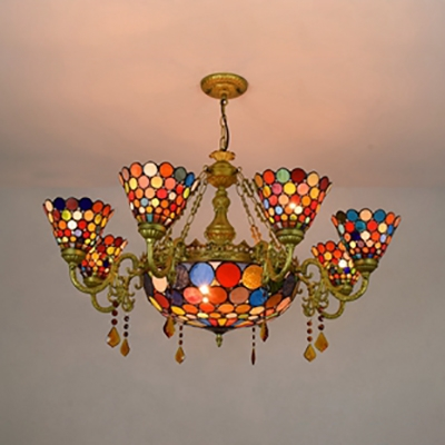 Antique Style Colorful Chandelier Dome Shade 9 Lights Glass Pendant Lamp with Crystal for Hotel