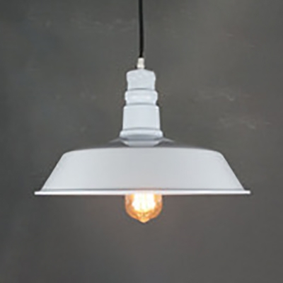 Antique Style White Hanging Light Barn Shade 1 Light Metal Pendant Lamp with Pulley for Factory, HL537148