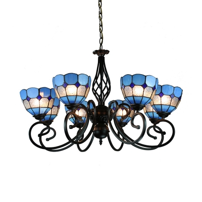 Art Glass Dome Chandelier Living Room 6/8 Lights Mediterranean Style Suspension Light in Blue